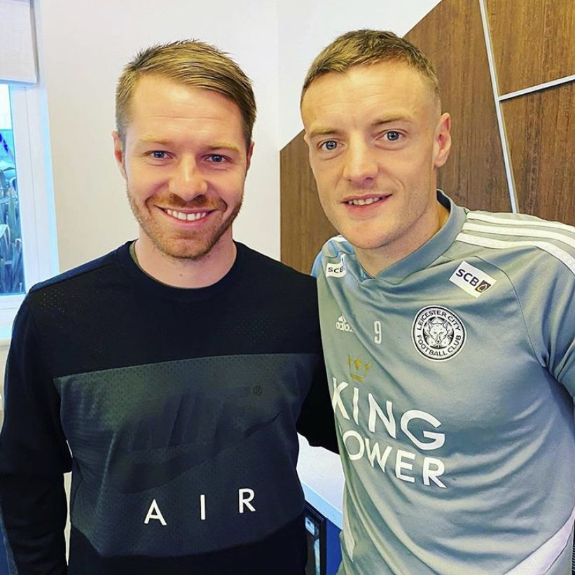 Michael with James Vardy at Leicester City