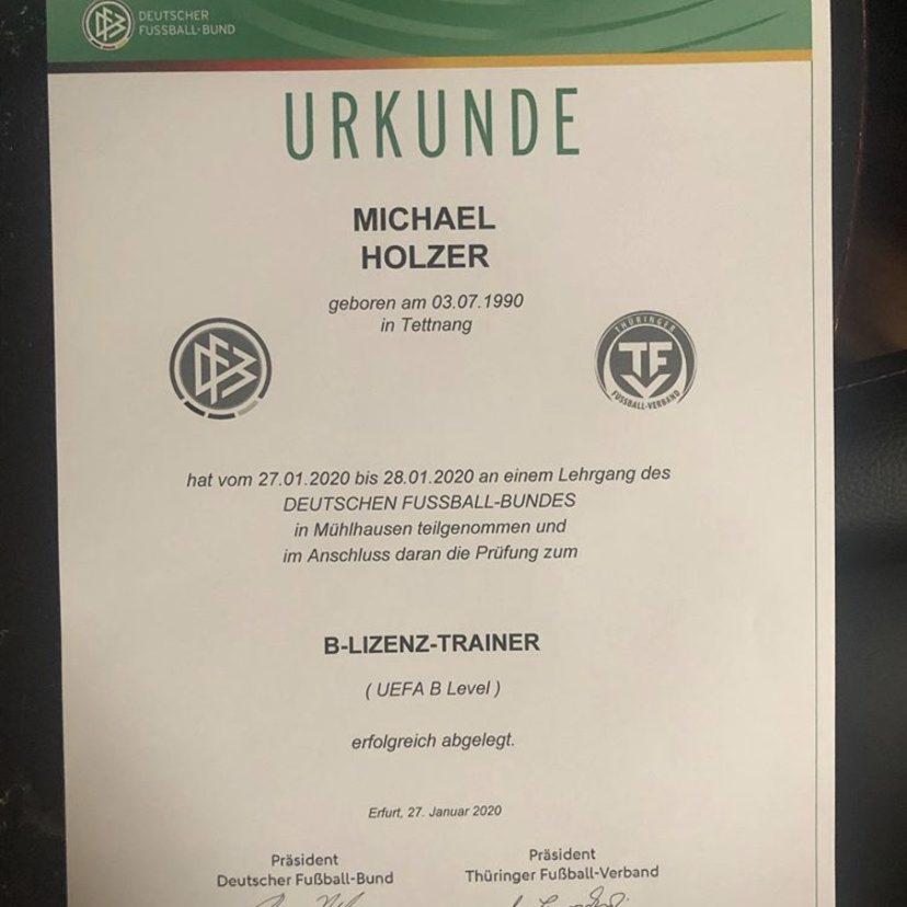 Michael's UEFA-B Coaching Lincense