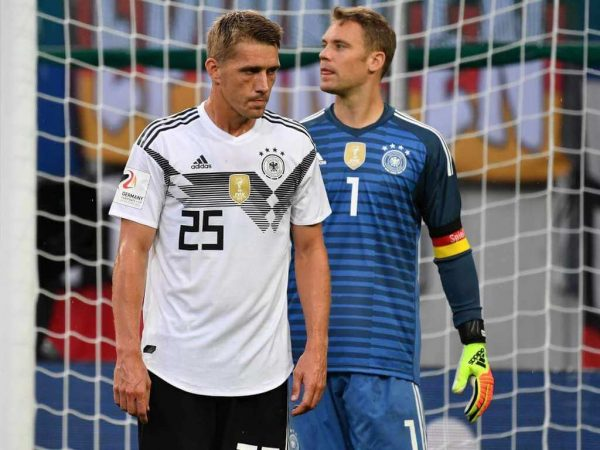 Nils Petersen with Manuel Neuer playing for the Germany National Team - Soccer Scholarships in the USA