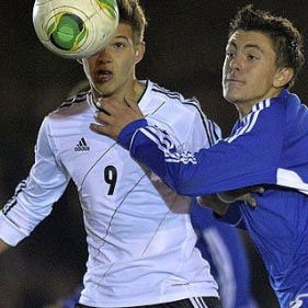 Luca Erhardt playing for the German Youth National Team U16