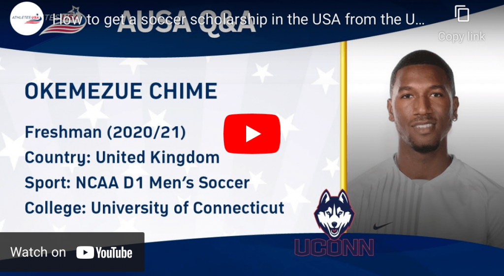 How to get a soccer scholarship in USA from UK? Interview with UCONN player Okem
