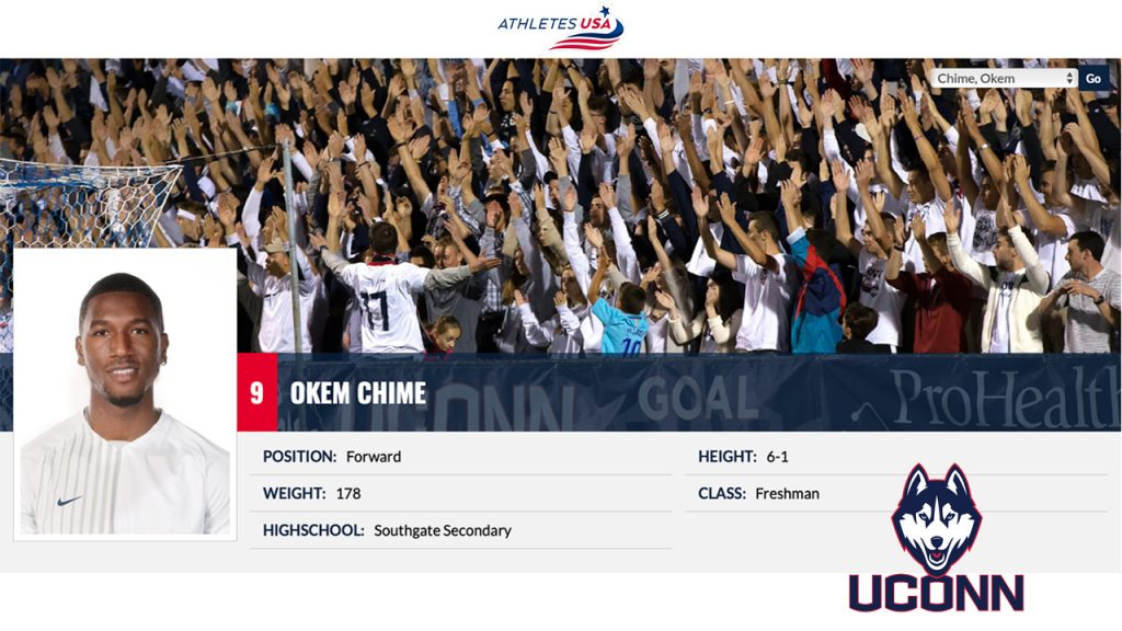 Okem Chime at the University of Connecticut - how to get a soccer scholarship in usa from uk